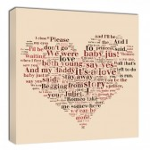 Heart Word Collage Wedding Song Canvas Wall Art