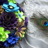 Bouquet - Handmade Paper Flowers - Peacock Inspired - designed by Dragonfly Expression
