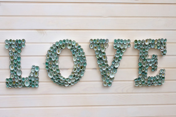 seashell covered letters