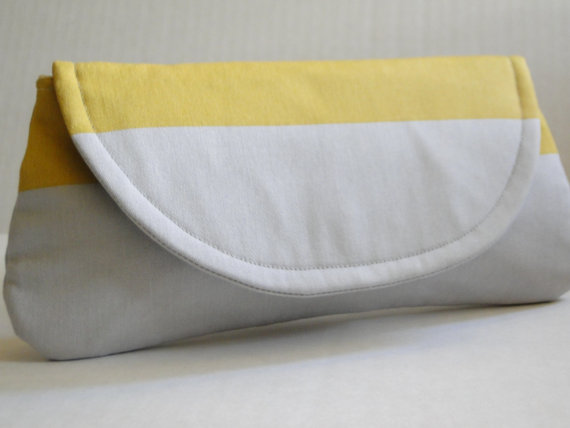 grey yellow bridesmaid clutch