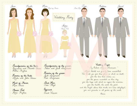 bridal party program illustration