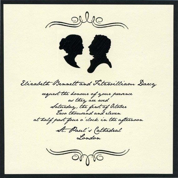elizabeth and darcy wedding invitation
