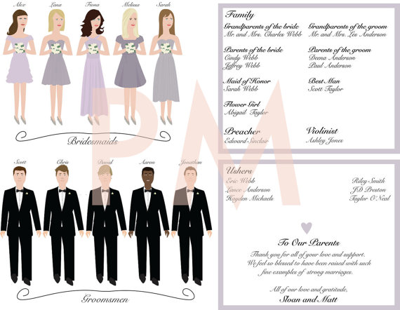 bridal party illustrations (by paper maids)