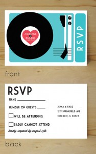 record player wedding invitation