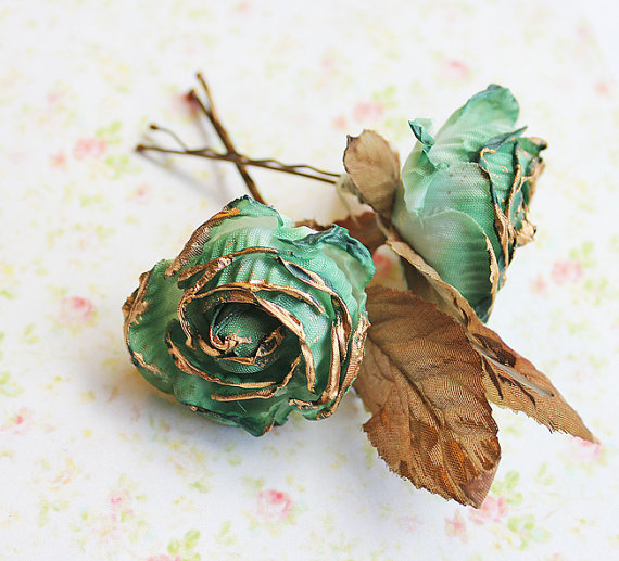 gold and green flower hair pins (1)