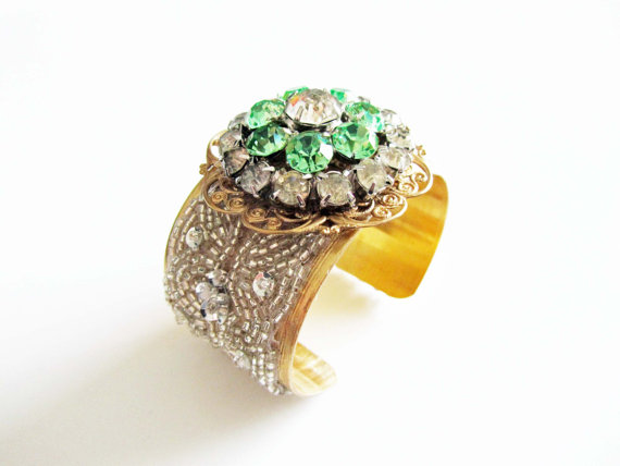 green rhinestone wedding cuff bracelet