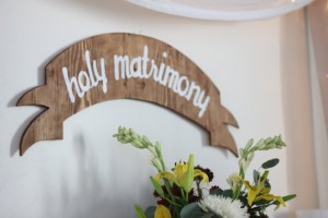 holy matrimony sign (by yes, dear studio, photography by amanada cherie / via emmaline bride)