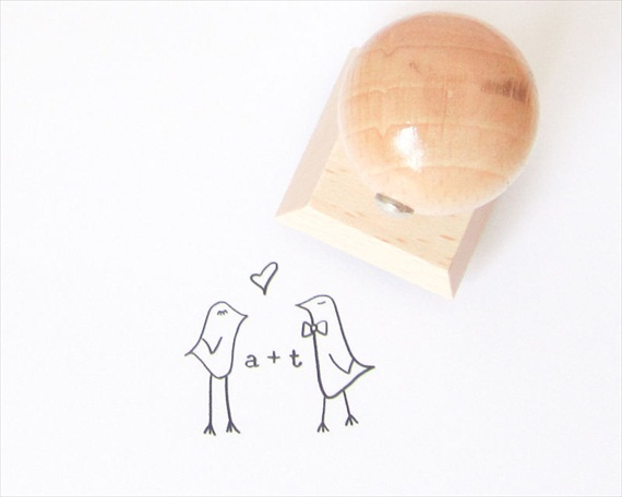 love birds wedding stamp