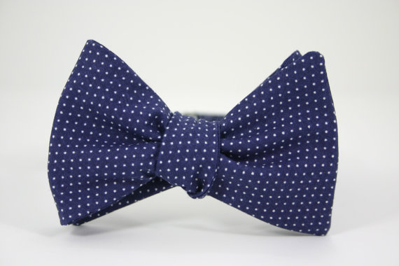 navy pin dot bow tie (by southern beaus via emmaline bride)