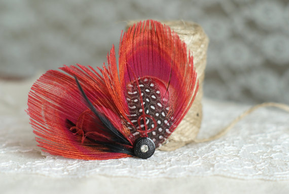 bridesmaid hair feathers in red