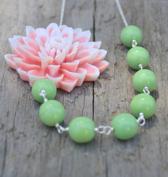 rose and mint necklace