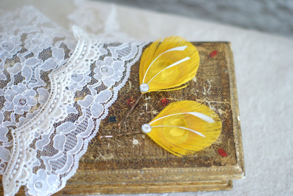 yellow feather hair pins (2)