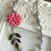 A Unique Rose Pink Flower, Oxidized Branch Leaf , Silver Grey Swarovski Pearls Antiqued Brass Necklace