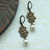 Antiqued Gold Flower, with Ivory Swarovski Pearls Earrings
