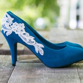 Teal Heels with Ivory lace