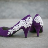 Purple Wedding Heels with Ivory Lace