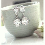 Pear Drop Luster Rhodium Plated Cubic Zirconia Clear Jewels Large Luxe Drop Earrings