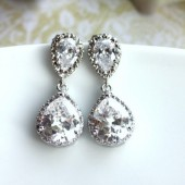 A Cubic Zirconia Pear Glass Jewel Earrings