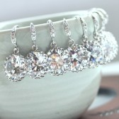 Round Glass Jewel Silver Plated Earrings