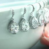 Set of Seven 7 pairs of Pear, Teardrop Large Lux Cubic Zirconia White Crystal Wedding Earrings.
