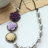 Shades of Purple, Plum, Ivory, and Grey Pearls, Multi Flower Necklace