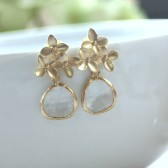 Gold Cherry Blossom with Clear Glass Jewel Earrings