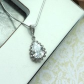 A Single Pear, Teardrop Cubic Zirconia White Crystal Necklace. Bridesmaid Gift. Bridal. Wedding Jewelry.