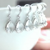 Set of 6 Cubic Zirconia Glass Jewel Silver Plated Earrings