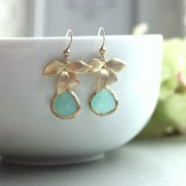 A wild orchid, blue aqua jewel earrings