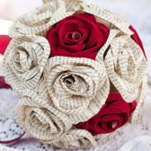 Book Page and sueded paper rose 15 stem Bridal bouquet