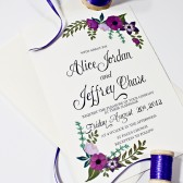Purple Hand painted Wedding Invitation