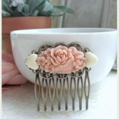 Flower Collage Vintage Inspired Filigree Hair Comb