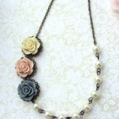 A Trio Three Soft Rose Flowers, Pink, Blue Grey, Ivory with Swarovski Ivory Pearls Vintage Style Necklace