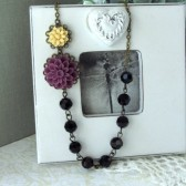 A Dark Purple Amethyst Plum EggPlant Amethyst Chrysanthemum Flower, Black Beads Vintage Inspired Necklace.
