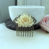 Large Ivory Rose Hair Comb