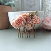 shades of pink collage flower comb