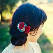 Romantic Crimson Rose Hair Comb