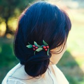 Crimson Red Berry Hair Comb