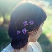 Tiny Purple Rose Hair Pins