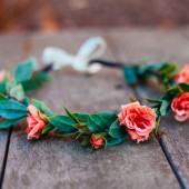 CORAL PINK ROSE Wedding Crown,