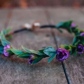 Sweet Purple Rose Bridal Hair Crown