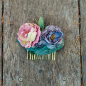 Dusty Rose Hair Comb, Floral Bridal Fascinator