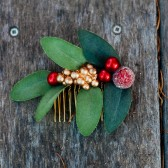 Crimson and Gold Berry Hair Comb