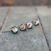 Small Pink Rose Wedding Hairpin Set