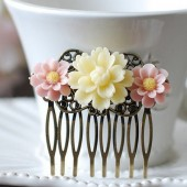 Flowers Floral Collage Hair Comb