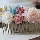 Large Floral Hair Comb