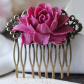 Red Violet Fuchsia Plum Large Rose Flower Hair Comb