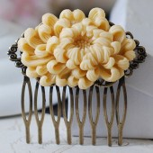 Large Ivory Chrysanthemum Flower Hair Comb