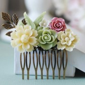 Light Yellow Ivory Dusty Pink Sage Green Flowers and Bird Collage Hair Comb