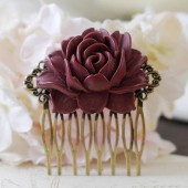Deep Red Burgundy Rose Flower Hair Comb